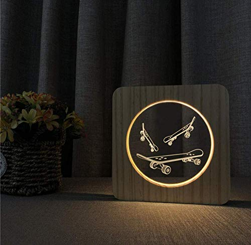 Skateboarding 3D LED Arylic hout nachtlamp tafel lichtschakelaar besturing lamp voor kinderkamer decoratie geschenk