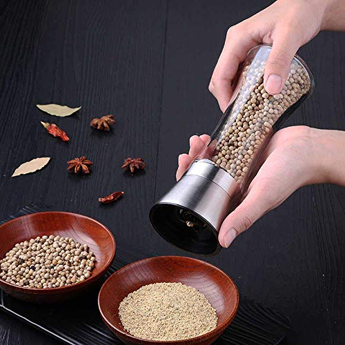 ZIZLY Stainless Steel Salt and Pepper Crusher- Adjustable Ceramic Sea Salt Crusher & Pepper Crusher- Tall Glass Salt and Pepper Shakers - Pepper Mill & Salt (Pack of 1)
