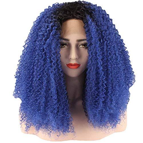 WANGZ Lange lockige Spitze-Perücke Seite gekämmt Versaute Curly Short Bob Perücke Spitze vor Natural Color 150% Dichte 26 Zoll