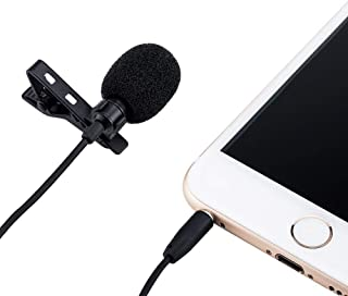 JJC SGM-28 Omnidirectional Lavalier Microphone For Camera camcorders 3.5mm 1/4 mic jack with Apple Lightning to 3.5mm Head...