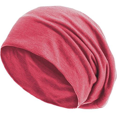 style3 Slouch Beanie aus atmungsaktivem, feinem und leichten Jersey Unisex Mütze Haube Bini Einheitsgröße, Farbe:Berry meliert