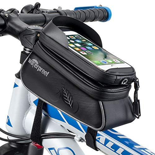 WOTOW Bicycle Phone Mount Bags, Waterproof Bike Front Frame Top Tube Handlebar MTB Cycling Bag with...