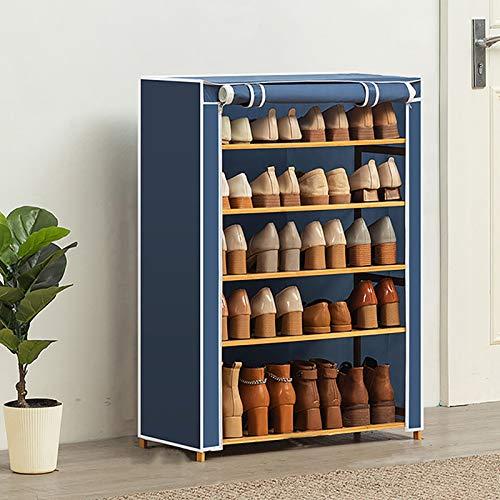5-nivel Rack De Zapatos De Bambú,Apilable Gran Capacidad Organizador De Almacenamiento De Rack De Zapatos Con Cubierta De Tela No Tejida,Estante De Almacenamiento De Zapatos Para -Azul. 70x28x90cm