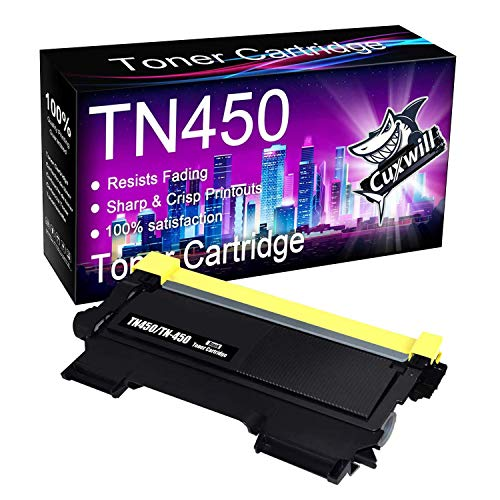 Cuxwill Compatible Toner Cartridge Replacement for Brother TN450 TN-450 TN420 use with HL-2230 HL-2240 HL-2270DW HL-2280DW MFC-7360N MFC-7860DW MFC-7240 DCP-7065DN Intellifax 2840 2940 Printer (Black)