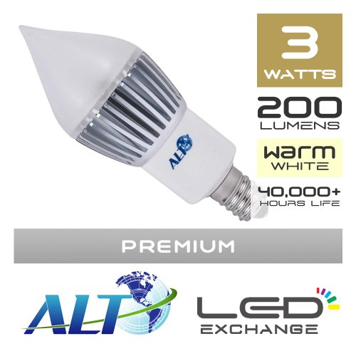 Nur je-Euro–Alt Premium LED Kerze Licht für Kronleuchter, E14, 3W, 200Lumen (67lm/W), warmweiß,–270º Frosted–Breite Lichtstreuung