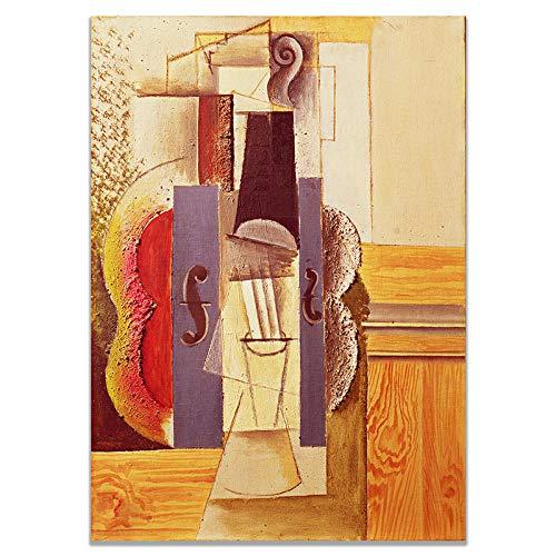 Künstlerische Geige von Picasso Leinwand druckt Kunst nordischen Stil Wandplakat abstrakte Wandkunst Bild Wohnzimmer Home Wanddekor Malerei 50 × 70cm Rahmenlos