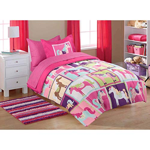 5pc Girl Pink Purple Horse Pony Full Comforter Set (Bed in a Bag)