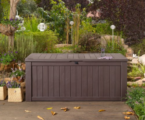 Rockwood GARDEN STORAGE BENCH BOX LARGE 570L KETER RESIN FURNITURE LOCKABLE WATERPROOF
