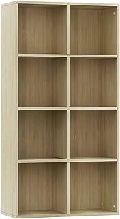 Festnight Estantería de Libros Estantería de Pared Mueble TV Aglomerado con 8 Compartimentos Mueble de Almacenaje Oficina ...