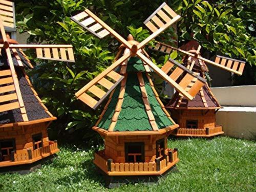 BTV Robuste Windmühle,Windmühle für Garten, windmühlen Garten, WMB100gr-OS ohne/mit SOLAR Beleuchtung 1 m groß grün grüngrau