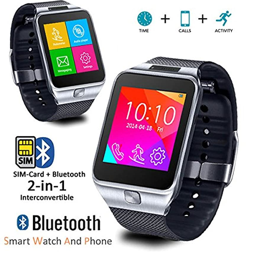 Indigi Indigi 2-in-1 GSM Unlocked Bluetooth Compatible SmartWatch for Galaxy S6 Edge Note 4 iPhone 6 6 Plus (Silver)