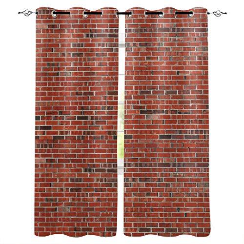 Knight Dream Cortinas opacas con ojales plateados, patrón de pared de ladrillo...