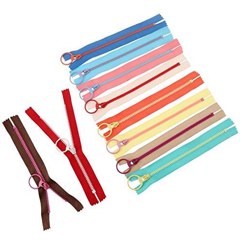 10 stks 40 cm Hars Rits Nylon Coil Rits Bulk met metalen ring trekker gebruikt voor Tailor Naaien Ambachten Tas Kleding