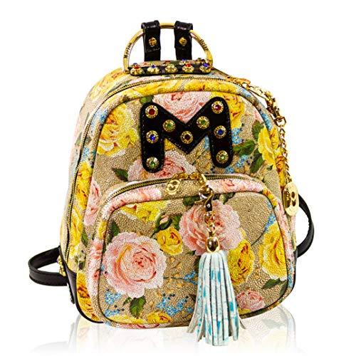 Marino Orlandi Damen Mittelgroße Handtasche Italienischer Designer-Rucksack Tote Bucket Purse Croc Geprägte Leder-Umhängetasche Sling in Blumenmuster mit Quaste und Swarvoski