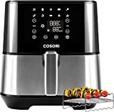 COSORI Air Fryer (100 Recipes, Rack & 5 Skewers, 9 Presets) Large XL Oven Oilless Cooker Preheat/Alarm Reminder, Nonstick Basket, 5.8QT, Digital-Stainless steel