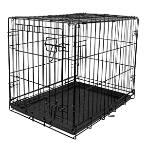 "VIBRANT LIFE Dog Folding Crate, 24"" Small Single Door Kennel w/Divider (24.00 x 17.50 x 20.00 Inches)"