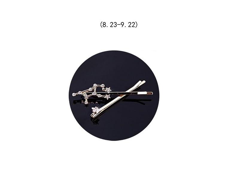 致命的な召喚するロゴOsize 美しいスタイル 12コンステレーションダイヤモンドジュエリーサイドクリップヘアピンヘアクリップセット(乙女座)