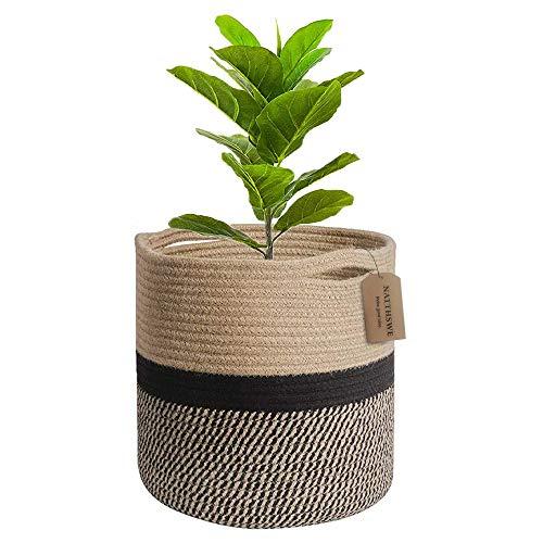 Tissé Panier en corde de coton pour plantes pour décoration intérieure de pot de fleurs panier à linge pliable panier de rangement domestique