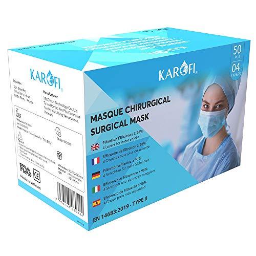 KAROFI - Medizinisch-chirurgische Masken vom TYP II, geprüft und zugelassen, BFE > 98%, 4 Lagen, CE-Zertifiziert nach EN14683 : 2019, Box 50 Stück