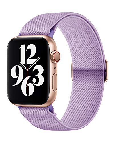 AMANECER Stretchy Nylon Watch Bands Compatible with Apple Watch Series 6/5/4/3/2/1 SE, Adjustable Braided Sport Elastic Solo Loop Bands for iWatch (Lavender Purple, 42MM/44MM)