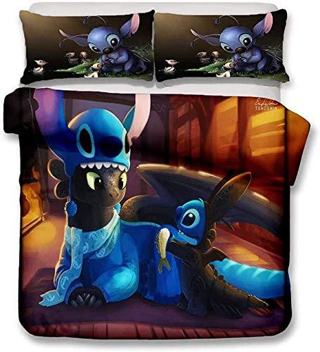 QWAS Juego de ropa de cama de Stich, muy suave y cómodo, de 3 piezas, diseño de dibujos animados, para niños, funda nórdica (A05,220 x 240 cm + 80 x 80 cm x 2).