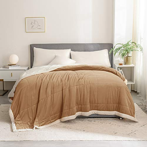 SHALALA NEW YORK Luxury Velvet Quilt - Bed Couch Throw Blanket for Adult or Kids - Super Soft Micro-Mink Fleece Bedspread Warm Coverlet Lightweight Bed Cover (Brown, Quilt Only - King)