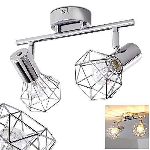 Deckenleuchte Orebro, Deckenlampe aus Metall in Chrom, 2-flammig, mit verstellbaren Strahlern, 2 x E14-Fassung max. 40 Watt, moderner Spot mit Gittern, LED Leuchtmittel geeignet