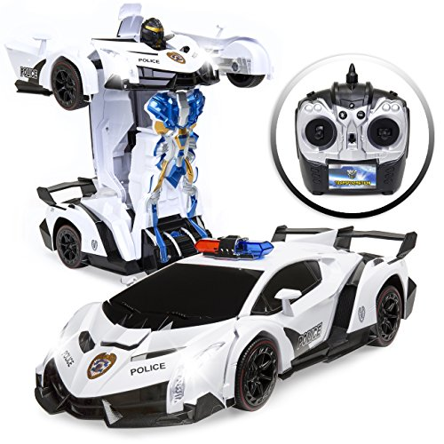 Best Choice Products 1/12 Scale Kids Transforming Remote Control Police Car Robot Toy Sports Car RC Toy w/ Lights, Sirens, Powered Steering, Butterfly Doors - White