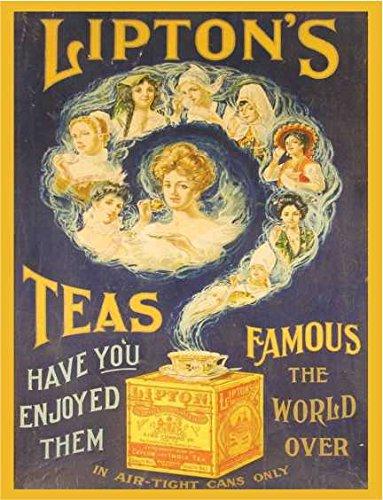 Lipton's thee beroemd de wereld over shabby chique vintage stijl acryl sleutelhanger sleutelhanger