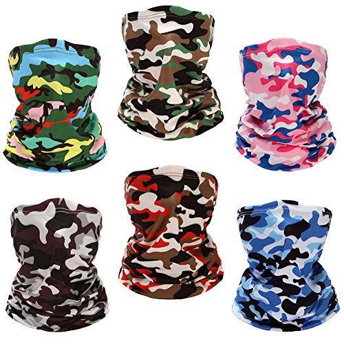 Yeshan Face Cover Bandanas Mouth Mask Balaclava Camo Neck Gaiter Magic Hiking Headband Sun UV Protection Magic Scarf Breathable Face mask for Motorcycle Cycling Riding Running (Camouflage),Pack of 6
