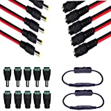 5 Pairs DC Power Pigtail Cable 18AWG 5.5 x 2.1mm Male Female Connctors 5 Pairs Male Female DC Power Jack Plug Adapter Connector for CCTV Home Security Surveillance Camera Transmission Systems -