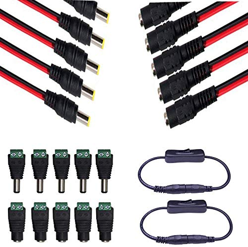 5 Pairs DC Power Pigtail Cable 18AWG 5.5 x 2.1mm Male Female Connctors 5 Pairs Male Female DC Power Jack Plug Adapter Connector 2 pcs DC Jack Interruptor (5.5mm x 2.1mm)