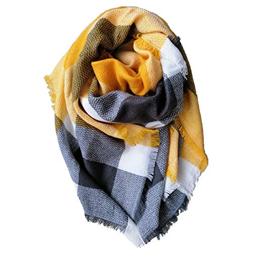 Women Oversized Tartan Scarf Lady Blanket Shawl Big Grid Winter Warm Large Scarves Cozy Check Pashmina