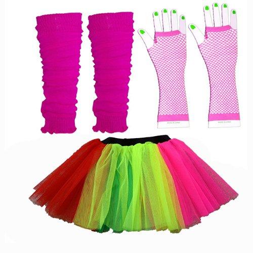 Tutu legwarmers gants - Adulte Déguisement - La taille adulte 36 - 42 (Rainbow)