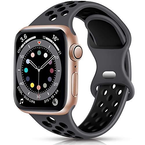 Epova Sport Cinturino in Silicone Compatibile con Apple Watch 40mm 38mm, Traspirante Cinturini di Ricambio per iWatch SE Series 6 5 4 3 2 1, Carbone/Nero, Piccolo
