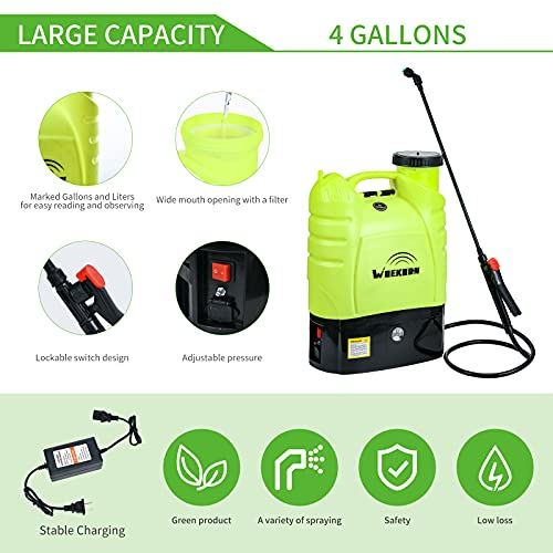 WOEKBON 4 Gallon Battery Powered Backpack Sprayer Electric Garden Pump Sprayer W/8.0A Lithium Battery for Long Time Sprery Brass Telescope Wand and Multiple Nozzles for Spraying Cleaning