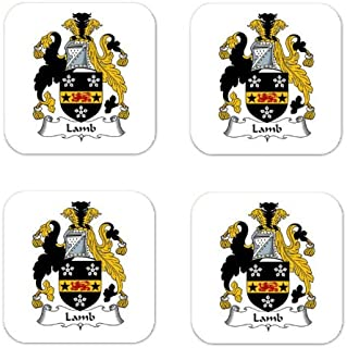 Lamb Family Crest Square Coasters Coat of Arms Coasters - Set of 4