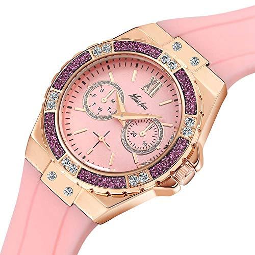 LIGUANGWEN Las Mujeres S De Oro Rosa Relojes del Deporte del Cronógrafo Reloj De Señoras del Diamante Azul De La Goma del Reloj del Cuarzo Analógico Mujer (Color : 2593-4)