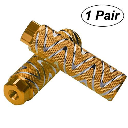 Helaryfreemear - Set di 2 pezzi, poggiapiedi BMX in lega di alluminio, antiscivolo, Oro, 2