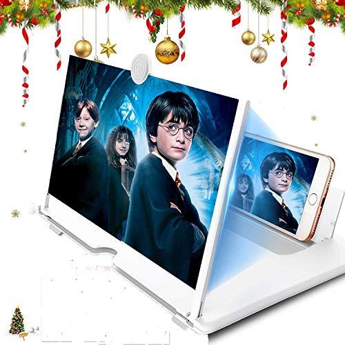 CHANG Lupa, pantalla de 14 pulgadas, lente de aumento, pantalla HD extensible contra luz azul, soporte para ver vídeos de películas en todos los smartphones, color blanco