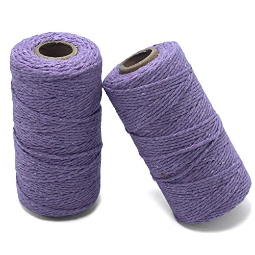 YZSFIRM 2mm Cotton Twine Rope,Light Purple String Bakers Twine for DIY Crafts and Gift Wrapping(2 Roll 656 Feet)