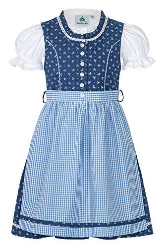 Trachterbahn Kinder Dirndl 3-TLG. Kleid Bluse Schürze für Mädchen Oktoberfest Kirchweih Hochzeit Sonntagausflug Hellblau, Gr. 134