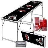 1 Fold Bierpong Tisch, mit nur einem Klappmechanismus +6 Premium Bällen & 50 Red Red Cups 16 oz. Design Black/Red/White Original by MyBeerPong® der Trinkspiele Beerpong Tisch