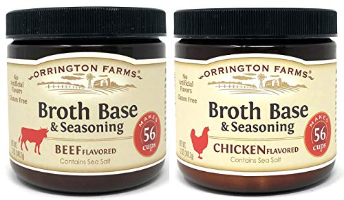 Orrington Farms Beef Broth and Chicken Broth Base 12 Ounce (Pack of 2) - Makes 56 Cups of Each Broth