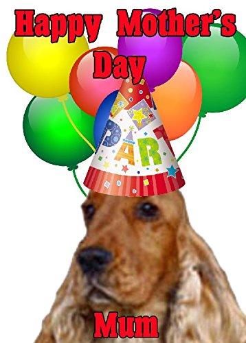 Cocker Spaniel perro feliz día de la madre tarjeta de gorro de...