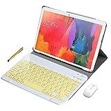 Tablet PC 10 pollici Android 9.0, Android tablet pc 10 pollici, scheda Dual Sim 4G LTE, 64 GB di RAM, 4 GB di RAM, WiFi / Bluetooth / Zoom/Team, Stereo con doppi altoparlanti-Argento