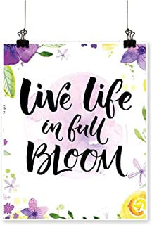 Rich in colorLive Life in Full Blooms Motivati al Violets Print Purple Yellow Print Decor for Living Room,32