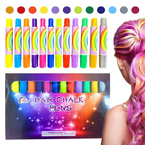 12 Color Temporary Hair Chalk Pens Crayon Salon Washable Hair Color Dye Face Kit Safe for Makeup Birthday Party Gift for Girls Kids Teen Adult