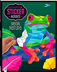 kaleidoscope Sticker Mosaics: Neon Nature colouring book