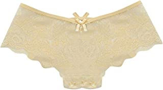 EFINNY Women's Sexy Lingerie Lace Hollow Flowers Transparent Briefs Fashion Chic Cross Solid Color Panties